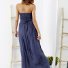 SCANDEZZA Niebieska sukienka maxi z cekinową górą - zdjęcie 3