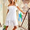 SCANDEZZA Biała sukienka hiszpanka z koronkowymi modułami - zdjęcie 4