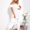 SCANDEZZA Biała asymetryczna sukienka hiszpanka z frędzlami - zdjęcie 3