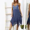 SCANDEZZA Niebieska sukienka maxi z ażurowym dekoltem - zdjęcie 6