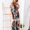 SCANDEZZA Biało-zielona sukienka maxi z etnicznym nadrukiem - zdjęcie 2