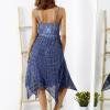 SCANDEZZA Niebieska sukienka maxi z ażurowym dekoltem - zdjęcie 3