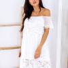 SCANDEZZA Biała sukienka hiszpanka z koronkowymi modułami - zdjęcie 1