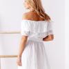 SCANDEZZA Biała sukienka hiszpanka z haftem angielskim - zdjęcie 2