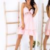 SCANDEZZA Różowa sukienka wiązana na szyi - zdjęcie 4