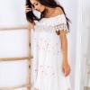 SCANDEZZA Beżowa sukienka w flamingi - zdjęcie 2