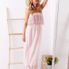 SCANDEZZA Różowa sukienka maxi z dekoltem carmen - zdjęcie 1
