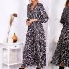 Sukienka maxi czarno-beżowa - zdjęcie 4