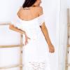 SCANDEZZA Biała sukienka hiszpanka z koronkowymi modułami - zdjęcie 5