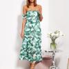 SCANDEZZA Biało-zielona sukienka maxi off shoulder w li¶cie - zdjęcie 5