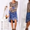 SCANDEZZA Brązowo-niebieska sukienka ombre z jedwabiem - zdjęcie 4