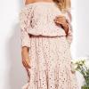 SCANDEZZA Beżowa rozkloszowana sukienka hiszpanka z haftem - zdjęcie 2