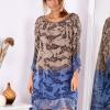 SCANDEZZA Brązowo-niebieska sukienka ombre z jedwabiem - zdjęcie 2