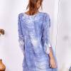 SCANDEZZA Niebieska sukienka oversize z cekinami w malarski deseń - zdjęcie 2