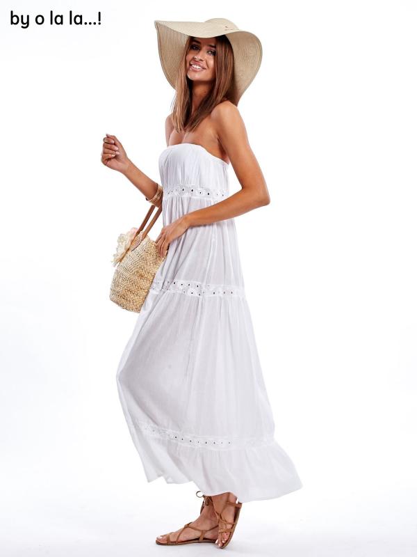 SCANDEZZA Ecru sukienka maxi z haftowanym dekoltem