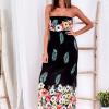 SCANDEZZA Czarna długa sukienka z kolorowymi kwiatami - zdjęcie 2