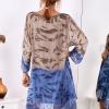 SCANDEZZA Brązowo-niebieska sukienka ombre z jedwabiem - zdjęcie 1