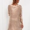 SCANDEZZA Beżowa sukienka oversize z cekinami w malarski deseń - zdjęcie 2