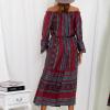 SCANDEZZA Bordowa sukienka maxi hiszpanka ze wzorem - zdjęcie 2