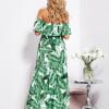 SCANDEZZA Biało-zielona sukienka hiszpanka maxi w tropikalne li¶cie - zdjęcie 4