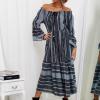 SCANDEZZA Szara sukienka maxi hiszpanka ze wzorem - zdjęcie 2