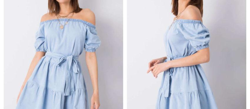 Błękitna sukienka jeansowa na lato