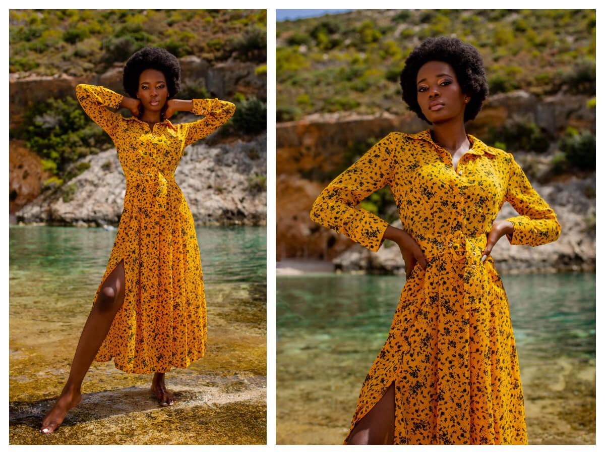 Długa sukienka w kwiaty z rozporkiem