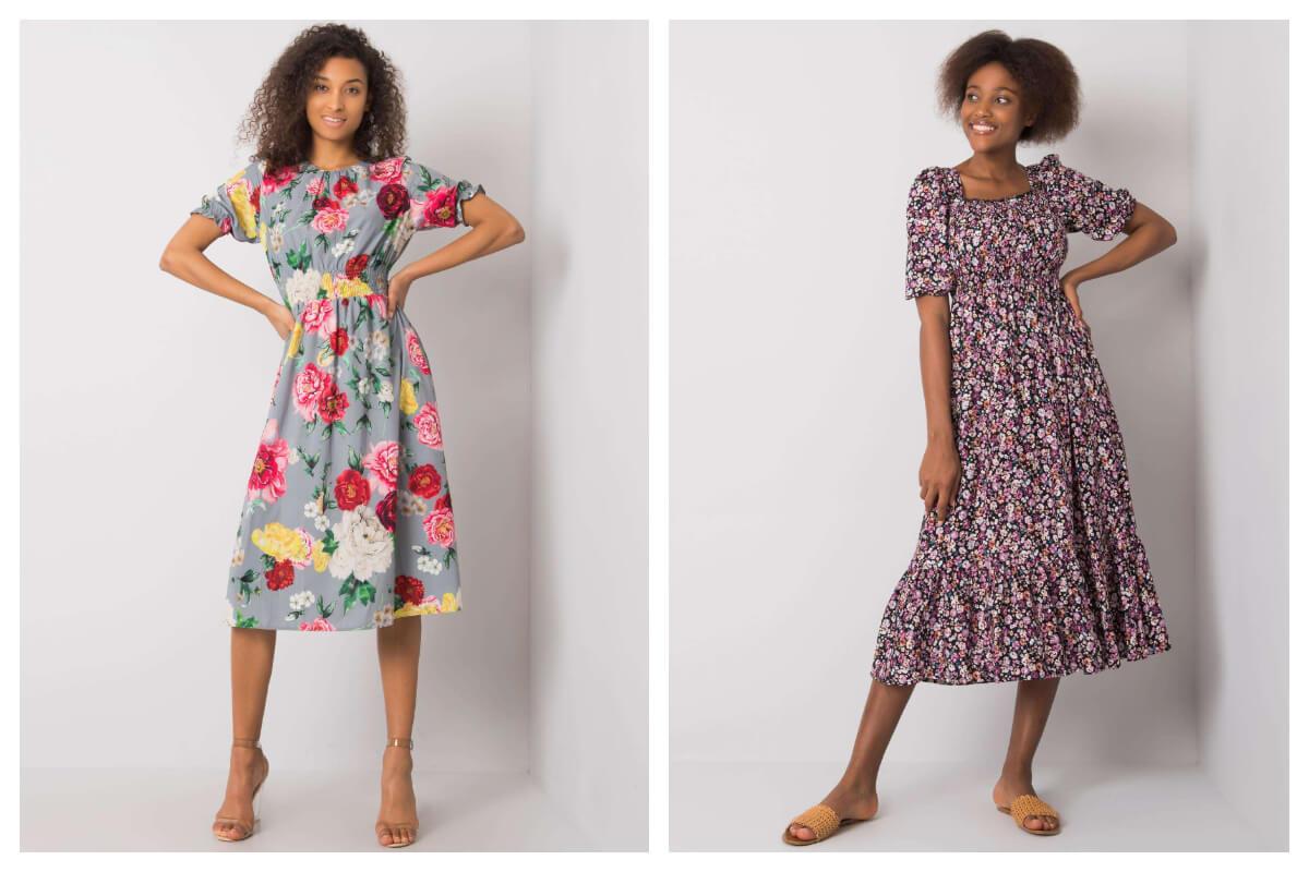 Długie sukienki w kwiaty  z krótkim rękawem